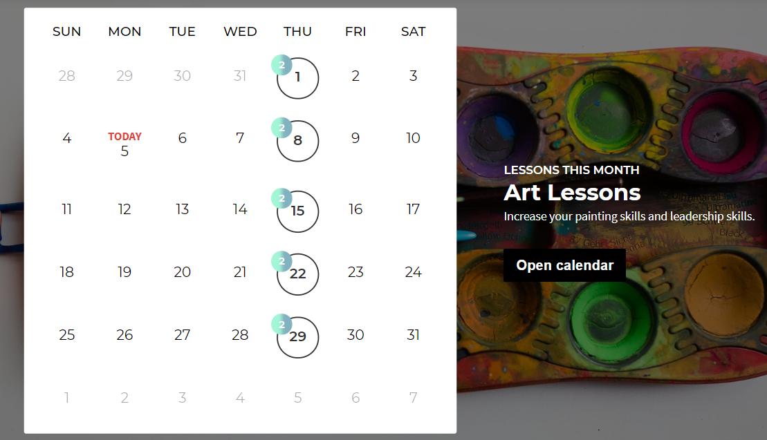 Calendar theme repeating event